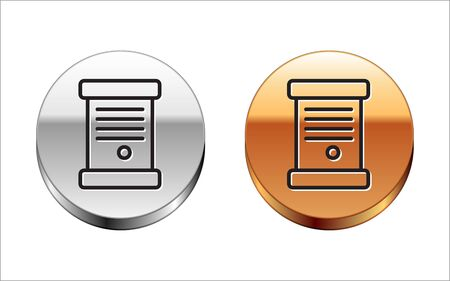 Black line Decree, paper, parchment, scroll icon icon isolated on white background. Silver-gold circle button. Vector