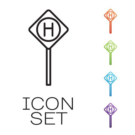 Black line Parking icon isolated on white background. Street road sign. Set icons colorful. Vector Illustration