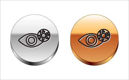 Black line Reddish eye due to virus, bacterial or allergic conjunctivitis icon isolated on white background. Silver-gold circle button. Vector