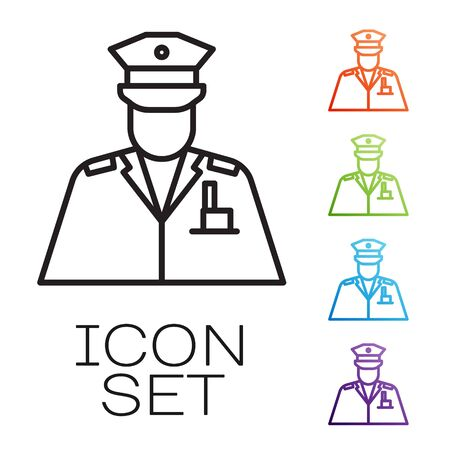 Black line Police officer icon isolated on white background. Set icons colorful. Vector 矢量图像