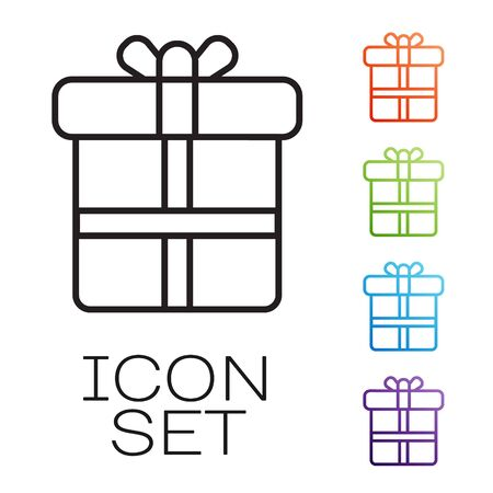Black line Gift box icon isolated on white background. Set icons colorful. Vector Ilustrace