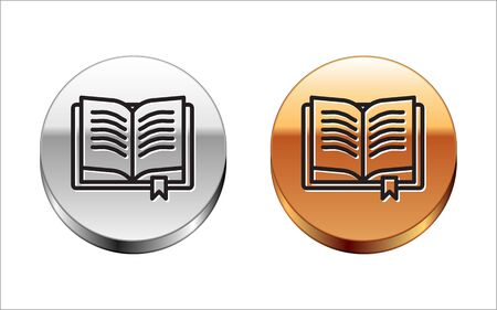 Black line Ancient magic book with alchemy recipes and mystic spells and enchantments icon isolated on white background. Silver-gold circle button. Vector Illustration