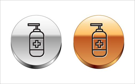 Black line Bottle of liquid antibacterial soap with dispenser icon isolated on white background. Antiseptic. Disinfection, hygiene, skin care. Silver-gold circle button. Vector Ilustracja