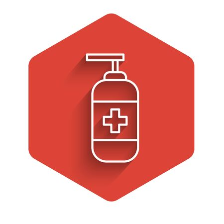 White line Bottle of liquid antibacterial soap with dispenser icon isolated with long shadow. Antiseptic. Disinfection, hygiene, skin care. Red hexagon button. Vector