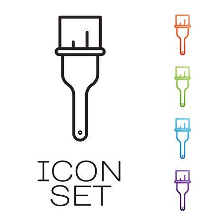 Black line Paint brush icon isolated on white background. Set icons colorful. Vector Ilustração