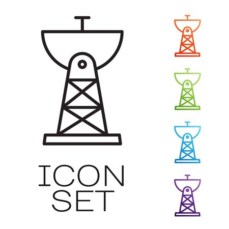 Black line Satellite dish icon isolated on white background. Radio antenna, astronomy and space research. Set icons colorful. Vector