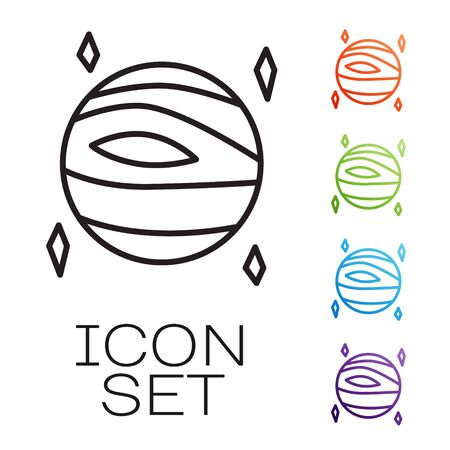 Black line Planet Venus icon isolated on white background. Set icons colorful. Vector Illusztráció