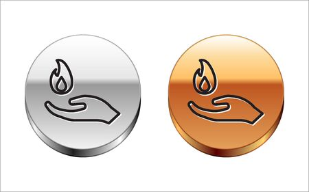 Black line Hand holding a fire icon isolated on white background. Silver-gold circle button. Vector Illustration