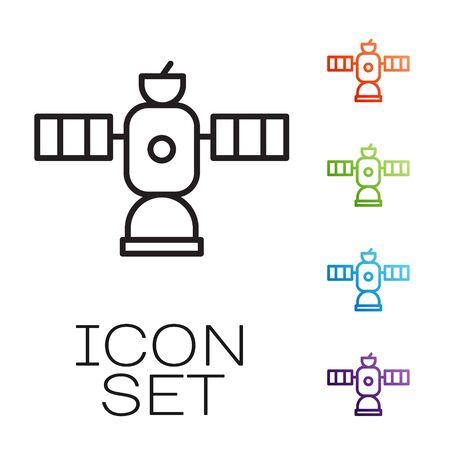 Black line Satellite icon isolated on white background. Set icons colorful. Vector Illustration