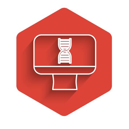 White line DNA spiral and computer monitor icon isolated with long shadow. Polygonal medical technology research mesh art. Red hexagon button. Vector Illustration