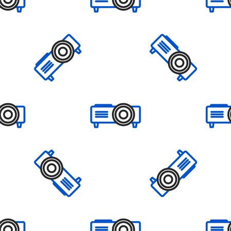 Line Presentation, movie, film, media projector icon isolated seamless pattern on white background. Colorful outline concept. Vector.