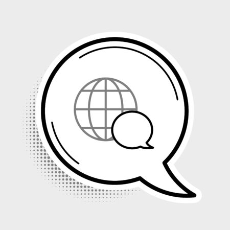 Line World map made from speech bubble icon isolated on grey background. Global communication scheme on Earth. Colorful outline concept. Vector. Ilustração