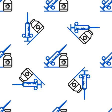 Line Medical syringe with needle and vial or ampoule icon isolated seamless pattern on white background. Vaccination, injection, vaccine, insulin concept. Colorful outline concept. Vector