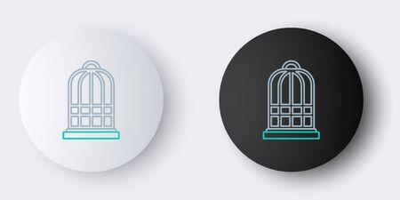 Line Cage for birds icon isolated on grey background. Colorful outline concept. Vector