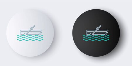 Line Fishing boat with oars on water icon isolated on grey background. Colorful outline concept. Vector