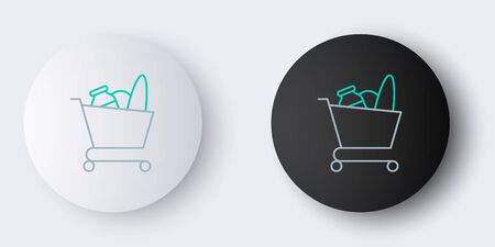Line Shopping cart and food icon isolated on grey background. Food store, supermarket. Colorful outline concept. Vector