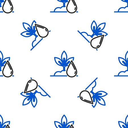 Line Watering plant icon isolated seamless pattern on white background. Seed and seedling. Irrigation symbol. Leaf nature. Colorful outline concept. Vector. Ilustrace