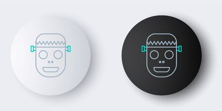 Line Zombie mask icon isolated on grey background. Happy Halloween party. Colorful outline concept. Vector.