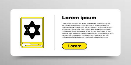 Line Jewish torah book icon isolated on white background. Pentateuch of Moses. On the cover of the Bible is the image of the Star of David. Colorful outline concept. Vector Vettoriali