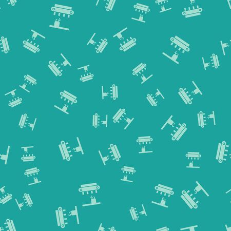 Green Factory conveyor system belt icon isolated seamless pattern on green background. Robot industry concept. Vector Illustration.
