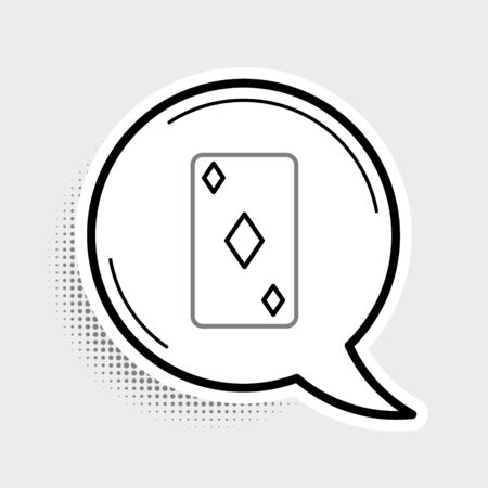Line Playing card with diamonds symbol icon isolated on grey background. Casino gambling. Colorful outline concept. Vector.