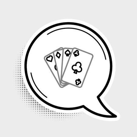 Line Playing cards icon isolated on grey background. Casino gambling. Colorful outline concept. Vector. Illustration