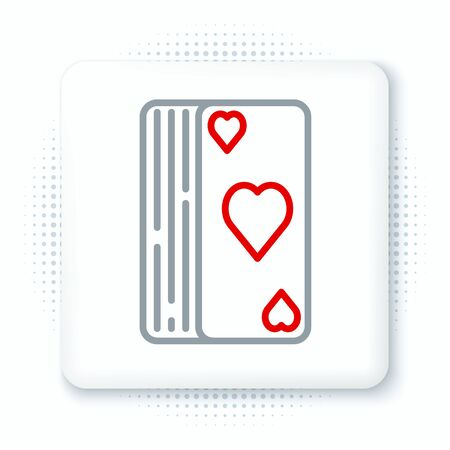 Line Deck of playing cards icon isolated on white background. Casino gambling. Colorful outline concept. Vector.