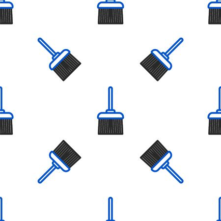 Line Handle broom icon isolated seamless pattern on white background. Cleaning service concept. Colorful outline concept. Vector. Ilustrace
