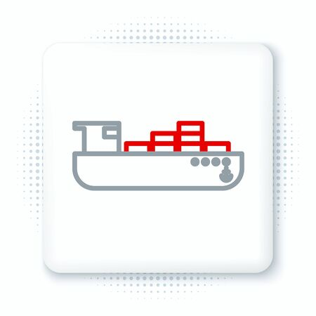 Line Cargo ship with boxes delivery service icon isolated on white background. Delivery, transportation. Freighter with parcels, boxes, goods. Colorful outline concept. Vector. Illustration