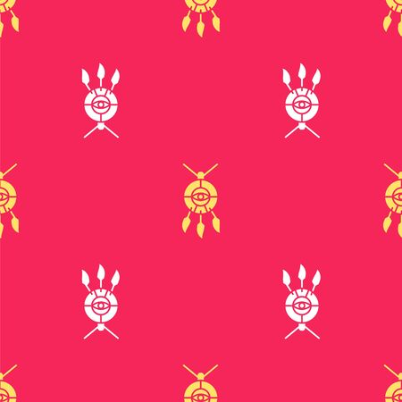 Yellow Dream catcher with feathers icon isolated seamless pattern on red background. Vector Illustration.