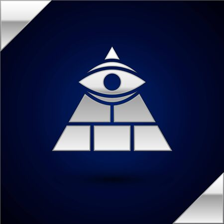 Silver Masons symbol All-seeing eye of God icon isolated on dark blue background. The eye of Providence in the triangle. Vector Illustration. Illustration