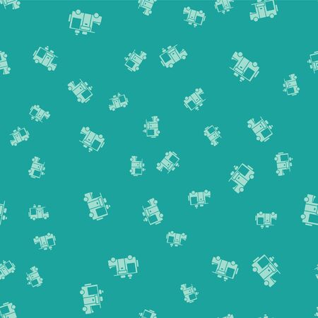 Green Rv Camping trailer icon isolated seamless pattern on green background. Travel mobile home, caravan, home camper for travel. Vector Illustration. Illustration