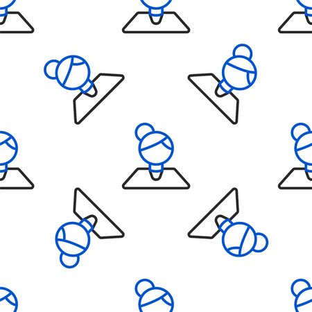 Line Teacher icon isolated seamless pattern on white background. Colorful outline concept. Vector