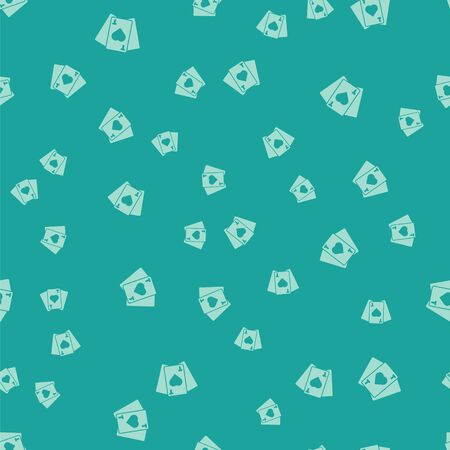 Green Playing cards icon isolated seamless pattern on green background. Casino gambling. Vector Illustration.
