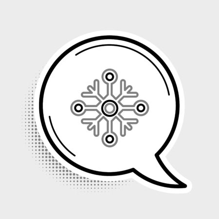 Line Snowflake icon isolated on grey background. Colorful outline concept. Vector. Ilustração