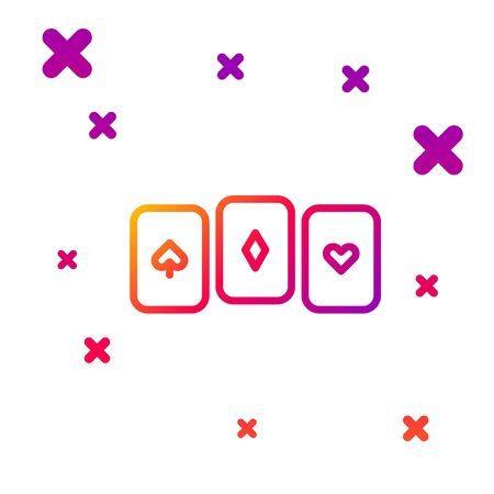 Color line Playing cards icon isolated on white background. Casino gambling. Gradient random dynamic shapes. Vector Illustration. Ilustrace