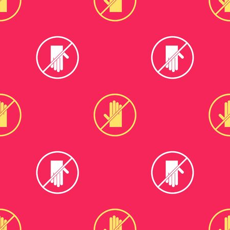 Yellow No handshake icon isolated seamless pattern on red background. No handshake for virus prevention concept. Bacteria when shaking hands. Vector Illustration.  イラスト・ベクター素材