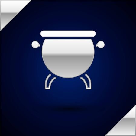 Silver Witch cauldron icon isolated on dark blue background. Happy Halloween party. Vector Illustration. Archivio Fotografico - 147719729