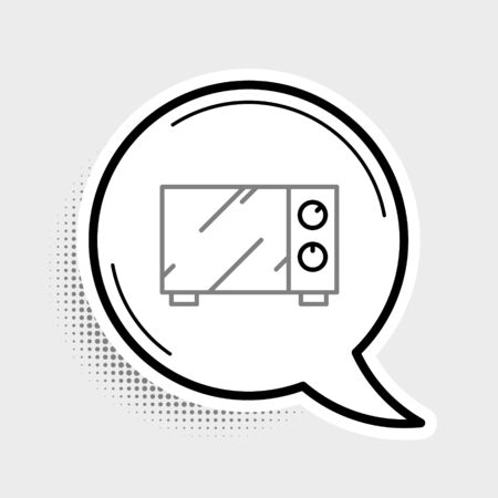 Line Microwave oven icon isolated on grey background. Home appliances icon. Colorful outline concept. Vector.