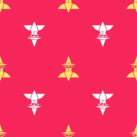 Yellow Wizard warlock icon isolated seamless pattern on red background. Vector Illustration