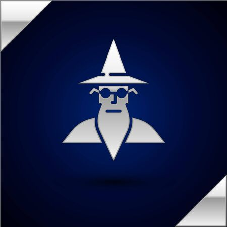 Silver Wizard warlock icon isolated on dark blue background. Vector Illustration 向量圖像