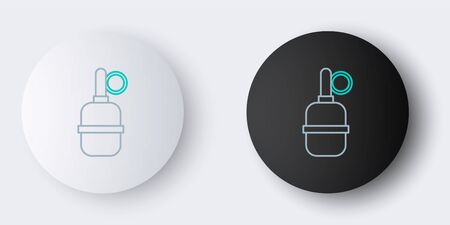 Line Hand grenade icon isolated on grey background. Bomb explosion. Colorful outline concept. Vector.