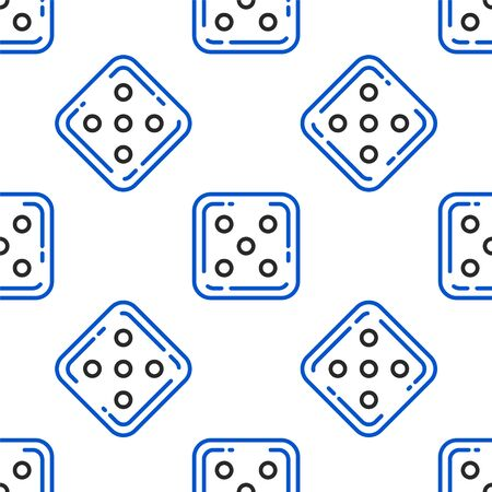 Line Game dice icon isolated seamless pattern on white background. Casino gambling. Colorful outline concept. Vector.