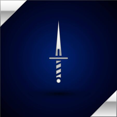 Silver Dagger icon isolated on dark blue background. Knife icon. Sword with sharp blade. Vector Illustration. Stok Fotoğraf - 147678374