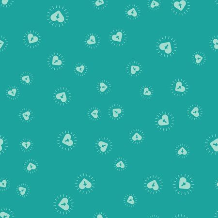 Green Christian cross and heart icon isolated seamless pattern on green background. Happy Easter. Vector Illustration.