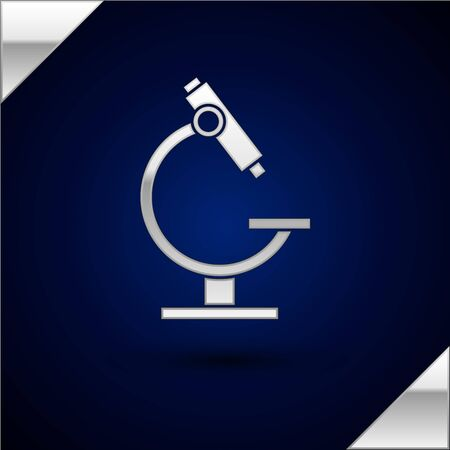 Silver Microscope icon isolated on dark blue background. Chemistry, pharmaceutical instrument, microbiology magnifying tool. Vector Illustration