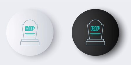 Line Tombstone with RIP written on it icon isolated on grey background. Grave icon. Colorful outline concept. Vector.