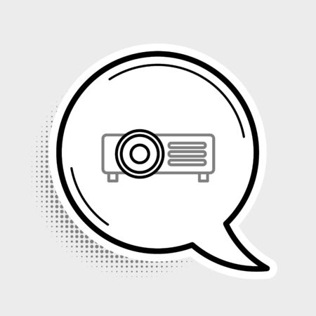 Line Presentation, movie, film, media projector icon isolated on grey background. Colorful outline concept. Vector. Çizim
