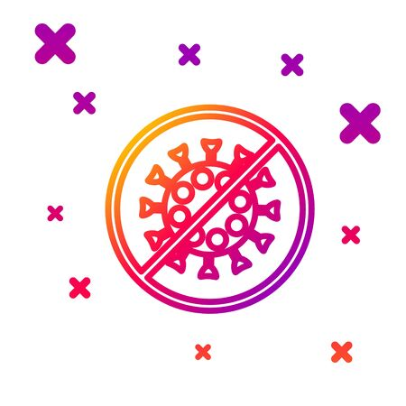 Color line Stop virus icon isolated on white background. Corona virus 2019-nCoV. Bacteria and germs, cell cancer, microbe, fungi. Gradient random dynamic shapes. Vector Illustration Ilustração