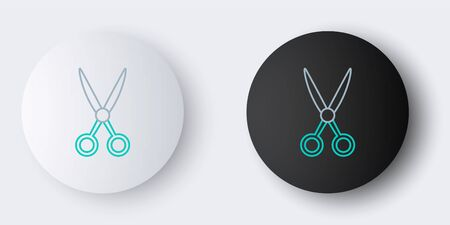 Line Scissors hairdresser icon isolated on grey background. Hairdresser, fashion salon and barber sign. Barbershop symbol. Colorful outline concept. Vector Illusztráció